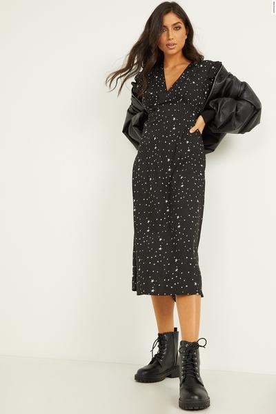 Black Star Print Midi Dress